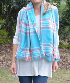 Peach & Blue Plaid Blanket Scarf
