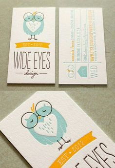 Cute letterpress #business cards with a charming color palette