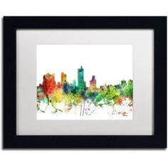 Trademark Fine Art Fort Worth Texas Skyline SP Canvas Art by Marlene Watson, White Matte, Black Frame