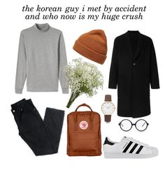 """""""hyun"""" by groovypeach on Polyvore featuring AMI, Lands' End, Forever 21, adidas, Thread, men's fashion and menswear"""