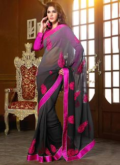 Grey Shaded Georgette Saree