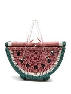 Charlotte Olympia Watermelon Basket Bag In Pink Charlotte Olympia, Watermelon Basket, Novelty Handbags, Picnic Bag, Clear Bags, Basket Bag, Red Bags, Zara Kids, Purses And Bags