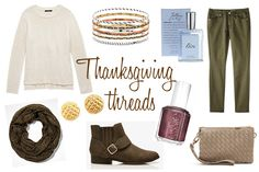 Thanksgiving Threads: American West Bangles, Charlotte Russe Quilted Studs, Essie Sable Collar, Express Metallic Scarf, Forever 21 Sweater, Merona Skinny Green, OOTD, PacSun Quilted Purse, Philosophy Falling in Love