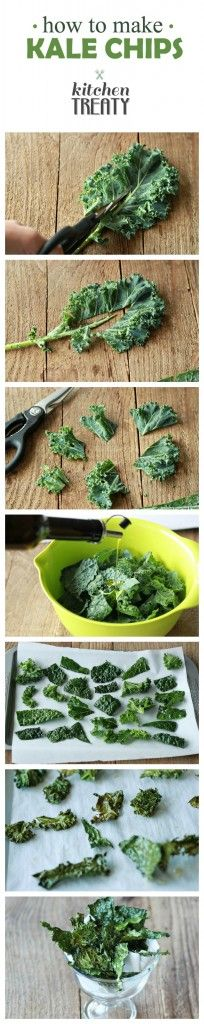 Mmmm we love kale chips! How to Make Kale Chips - Salty, crispy, addicting, and from garden to oven in 15 minutes . making your own kale chips couldn't be easier. Kale Recipes, Vegetable Recipes, Snack Recipes, Cooking Recipes, Veggie Food, Cooking Tips, Healthy Snacks, Healthy Eating, Healthy Recipes