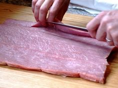 For a stuffed pork loin.... How to butterfly a boneless pork loin.