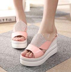 Hot Womens Faux Leather Slipper Sequins Platform Pump Sandals Rhinestone Shoes
