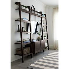 Sawyer Mocha Leaning Media Stand with Two 18'' Bookcases in Entertainment Centers | Crate and Barrel