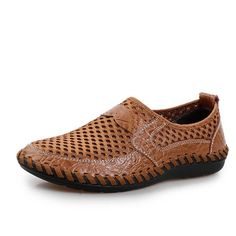 Fashion Men Stitching Honeycomb Mesh Slip On Loafers Breathable Outdoor Casual Shoes - NewChic Mobile.
