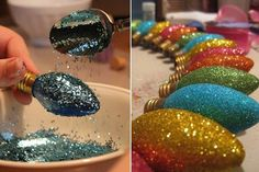 DIY Glitter Christmas Light Bulb Ornaments - Put painter tape around the base of the bulb. Pour Elmer's glue in a bowl. Use a small paint brush to cover the bulb completely. Sprinkle glitter over the bulb using a spoon. Noel Christmas, Diy Christmas Ornaments, Homemade Christmas, Christmas Projects, Winter Christmas, Holiday Crafts, Christmas Glitter, Glitter Ornaments, Glitter Globes