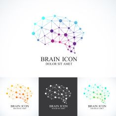 Set of Colorful Vector Template Brain . Creative concept design icon