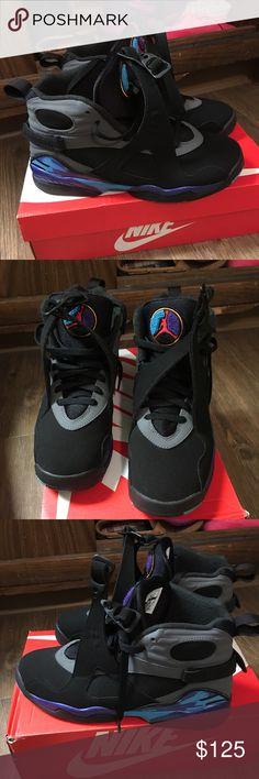 Air Jordan Aqua 8s Worn once , mint condition Jordan Shoes Sneakers