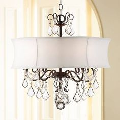 """Zula White Shade 22"""" Wide Crystal Chandelier - #2R758 