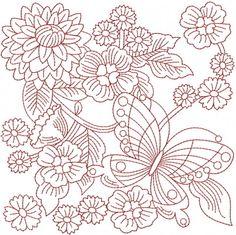 Floral Embroidery Design: Redwork Garden from AnnTheGran