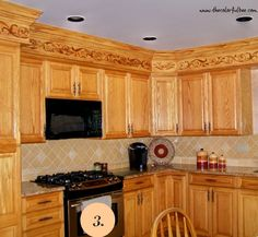 Decorated Kitchen Soffit Afer With Faux Woodgrained Effect Redo Cabinets Oak