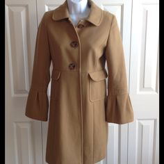 """[HP] BEIGE WOOL BLEND COAT Subtle bell sleeves.  Beautiful brown/beige color. Three large buttons down the front with 2 pockets.  Matching lining.  Simple. Stylish.  34"""" length. 60% Wool. 25% Polyester. 15% Rayon. ⚫️NO TRADE. NO PAYPAL⚫️HP Old Navy Jackets & Coats"""