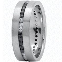 Men's Wedding Band White Gold with Black and White by JPoliseno, $2600.00 <4L