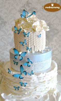 Roses and Butterflies Cake