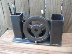 Steel Pulley and Tubing Desk Organizer by SierraPsm on Etsy