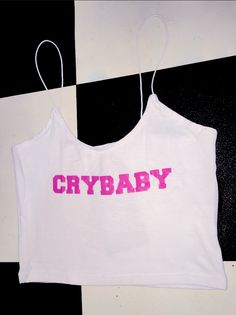 IT ME, CRYBABY  Cotton spandex blend Elastic skinny strap Cropped tank Lightweight