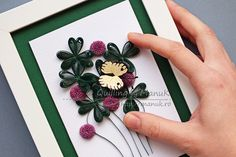 Quilled Clover with Purple Flowers and a Butterfly in a Shadowbox Frame - Quilling by ManuK (Manuela Koosch)