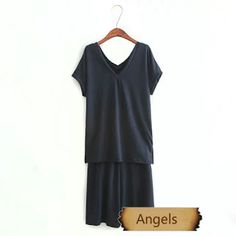 女裝絨料V領時尚套裝T恤+裙褲574   Angels Fashion Shop