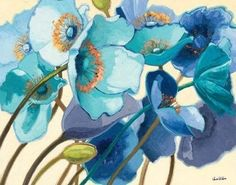 Big wall art painting illustrating a number of poppy flowers. Le Pavots Bleu Wall Art by Shirley Novak from Great BIG Canvas. Big Canvas Art, Wall Canvas, Canvas Art Prints, Painting Prints, Fine Art Prints, Framed Prints, Blue Canvas, Canvas Size, Blue Art