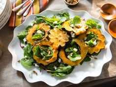 Acorn Squash with Baby Bitter Greens recipe from Valerie Bertinelli via Food Network