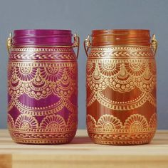 Hand Painted Mason Jar Duo, Tangerine and Pink Tinted Glass with Bohemian Gold Detailing