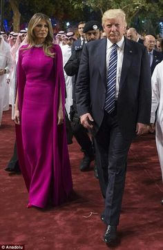 The First Ladies, Melania Trump and Brigitte Macron, brought sophisticated sparkle to the new administration's first State Dinner. Ivanka Trump, Milania Trump Style, Donald And Melania, Conservative Fashion, Purple Gowns, Pink Purple, First Lady Melania Trump, Bold Fashion, Designer Gowns