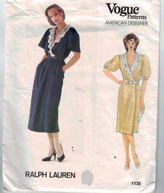 1980s Vintage Sewing Pattern Vogue 1135 Misses Ralph Lauren Dress with Lace Collar Front Wrap Size 12 Bust 34 80s UNCUT