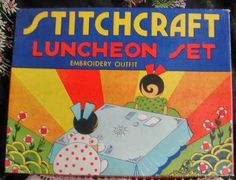 1930's Stichcraft Childs Luncheon Embroidery Set-Unused-Original Deco Box