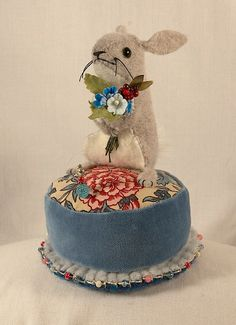 Little Spring Bunny Pincushion - wool felt with blue and pink spring bouquet