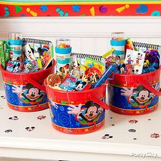Mickey Mouse favors are super-easy to put together when you start with sturdy reusable Mickey favor buckets.