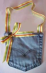 Save the pockets from your old jeans, and turn them into a denim pocket purse. The perfect gift for a little girl.