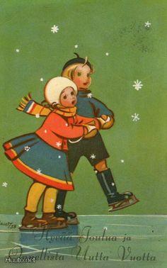 Martta Wendelin Vintage Christmas Cards, Christmas Images, Christmas Art, Vintage Cards, Vintage Postcards, Winter Images, Winter Pictures, Skating Pictures, Nostalgic Images