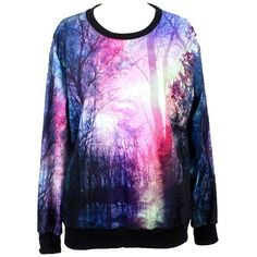Indrah Neon Galaxy Colorful Patterns Print Sweatshirt Sweaters ($17) ❤ liked on Polyvore featuring tops, hoodies, sweatshirts, shirts, sweaters, sweatshirt, galaxy sweatshirt, colorful shirts, galaxy print sweatshirt and blue sweatshirt