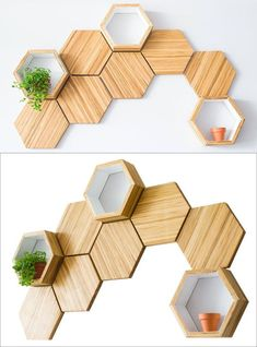 ChopValue have created Recycled Chopstick Honeycomb Shelves. These handmade, mod… ChopValue have created Recycled Chopstick Honeycomb Shelves. These handmade, modern, hexagonal wood wall shelves and tiles offer a unique accent to any wall. Wood Wall Shelf, Wood Wall Decor, Wall Décor, Wall Art, Diy Wall, Wall Shelving, Handmade Home Decor, Diy Home Decor, Honeycomb Shelves