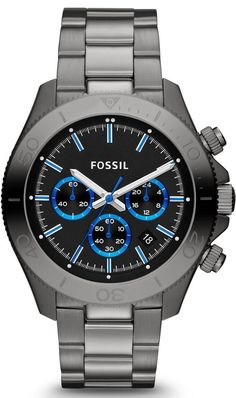 Fossil Watches, Men's Retro Traveler Chronograph Stainless Steel Watch - Smoke #CH2869