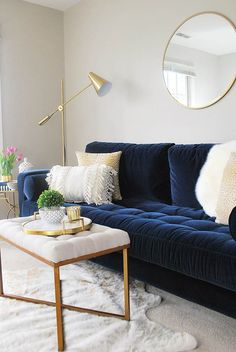 This blue velvet sofa is royally sweet. With its plush back cushions, bolsters made for regal lounging, and tufted bench seat, the Sven cascadia blue sofa holds court in your living room. This piece… Blue Velvet Sofa Living Room, Navy Living Rooms, Blue Living Room Decor, Living Room Sofa, Home Living Room, Living Room Designs, Bedroom With Sofa, Blue Living Room Furniture, Blue And Gold Living Room