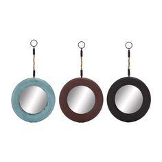 Woodland Imports 92362 Affluent Metallic Round Wall Mirror (Set of 3)