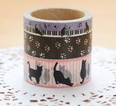 3 Masking tape motif Chats / Rouleaux de ruban adhésif décoratif Kawa