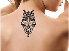 Detailed Black Owl Tattoo