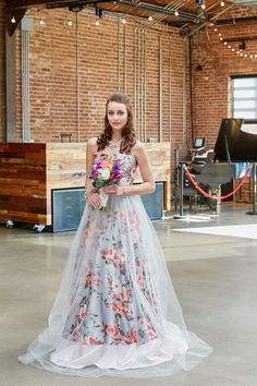 A pink floral print wedding dress with tulle overlay. Printed Wedding Dress, Non White Wedding Dresses, Colored Wedding Dress, Traditional Wedding Dresses, Wedding Dresses Photos, Floral Wedding, Wedding Gowns, Botanical Wedding, Bridal Gowns