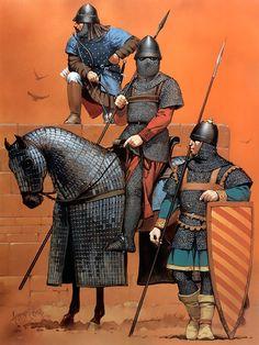 """Byzantine soldiers, 14th century""  • Archer, c. 1326  • Cavalryman  • Infantryman"