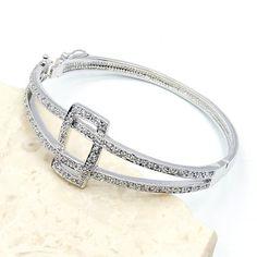 Fabulous Sterling Silver White Topaz Cuff Bracelet  Price : $109.95 http://www.silverplazajewelry.com/Fabulous-Sterling-Silver-White-Bracelet/dp/B00G9JRMH0