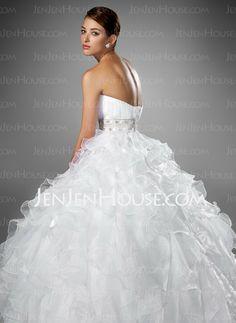 Wedding Dresses - $262.99 - Ball-Gown Sweetheart Chapel Train Organza Satin Wedding Dress With Ruffle Beadwork (002004753) http://jenjenhouse.com/Ball-Gown-Sweetheart-Chapel-Train-Organza-Satin-Wedding-Dress-With-Ruffle-Beadwork-002004753-g4753