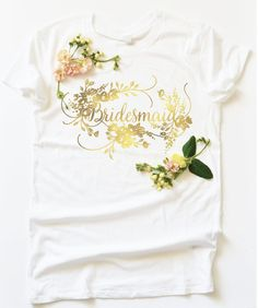 White Women's Tee Bridesmaid in Gold Foil Florals by firstsnowfall