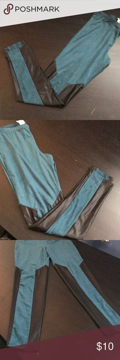 Blue suede leggings with leather look cut outs NWOT Pants Leggings