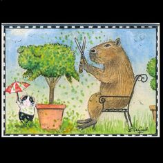 GUINEA PIG & CAPYBARA aceo Limited Edition matted print by Suzanne Le Good.