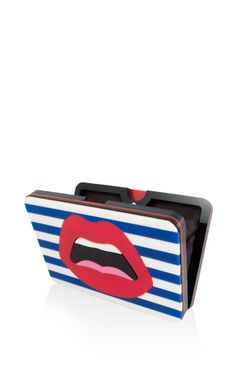 "Le ""C'est Ahh.."" Navy Striped Plexiglass Clutch by Yazbukey for Preorder on Moda Operandi"